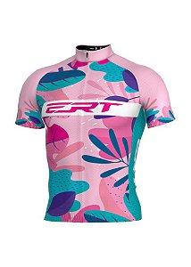 Camisa Ciclismo Ert Classic Manga Curta Floral Rosa Bike