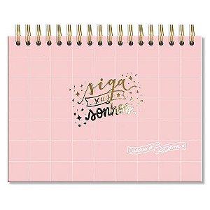 Caderno de Lettering Fina Ideia Rosa Quadriculado