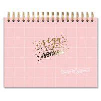 Caderno de Lettering Folhas Brancas Rosa Quadriculado