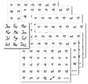 Kit com 12 cartelas numéricas