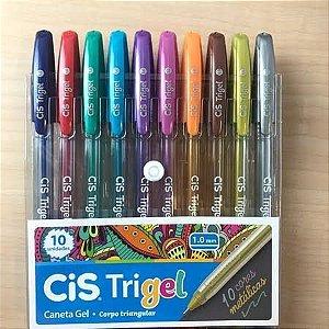 Caneta TRIGEL CIS 10 cores metálicas 1.0mm