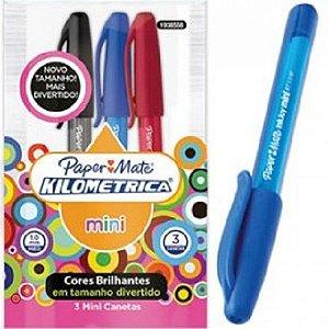 Pouch com 03 Caneta Esferográfica PaperMate - Kilométrica 100 - Colorz Mini sortidas