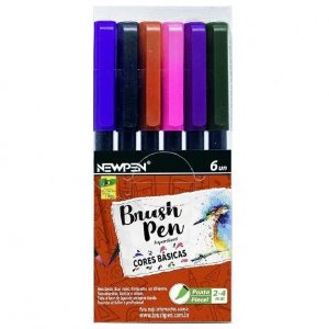 PINCEL BRUSH PEN - CORES BASICAS - CX / 6