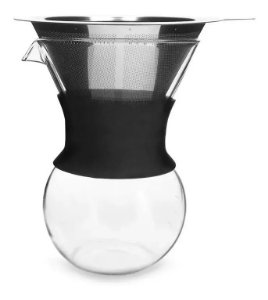 Passador De Café Mimo Style Vidro Silicone Preto