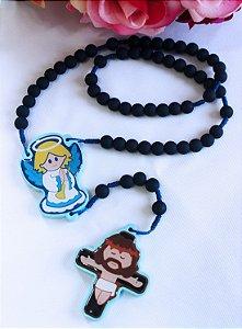 Terço da Criança Santinhos Emborrachado - Anjo da Guarda (Cruz de Madeira - Azul Marinho)
