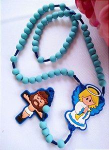 Terço da Criança Santinhos Emborrachado - Anjo da Guarda (Cruz de Borracha - Azul Bebê)