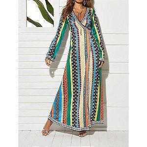 Vestido estampado tropical com decote em V e manga comprida