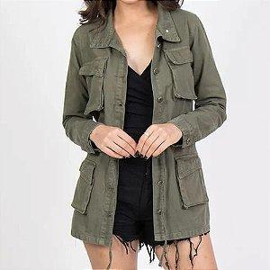 Jaqueta Parka Jeans Verde Militar Feminina Rock