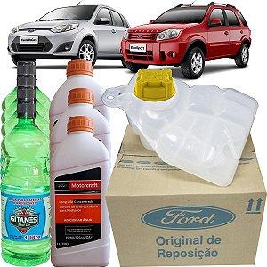 Kit Reservatorio De Água Original Radiador + Tampa + Aditivo + Água Ford Fiesta Ecosport Zetec Rocam