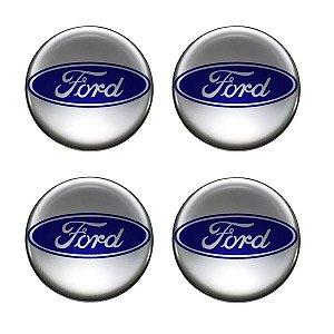 Cartela Com 4 Emblemas Resinados 48mm Para Calota De Roda - Ford