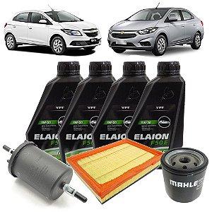 Kit troca de óleo Elaion F50 5W30 e Filtros - GM Onix e Novo Prisma 1.0 e 1.4