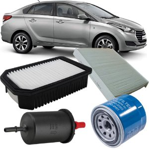 Kit Filtros De Ar Óleo Combustível Cabine Hyundai Hb20 1.6 2012 2013 2014 2015 2016 2017