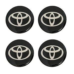 Cartela com 4 emblemas resinados 48mm para calota de roda - Toyota
