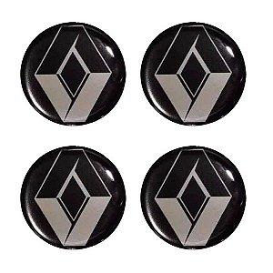 Cartela Com 4 Emblemas Resinados 48mm Para Calota De Roda - Renault