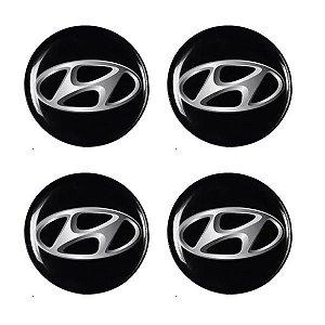 Cartela Com 4 Emblemas Resinados 48mm Para Calota De Roda - Hyundai