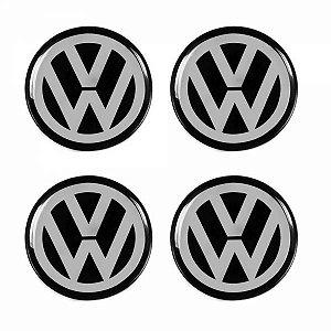 Cartela Com 4 Emblemas Resinados 48mm Para Calota De Roda - Volkswagen