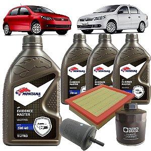 Kit troca de óleo 5W40 sinético e filtros ar, óleo e combustível - VW Gol G5 G6 e Voyage 1.0 8V Flex