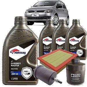Kit troca de óleo 5W40 sintético e filtros ar, óleo e combustível - VW Fox 1.0 8V de 2005 até 2015