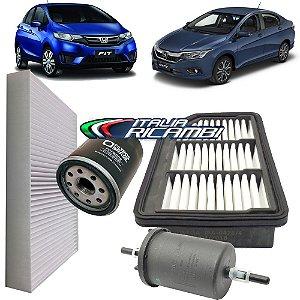 Kit filtros de ar, óleo, combustível e cabine - Honda Fit e City 1.5 16V de 2014 em diante