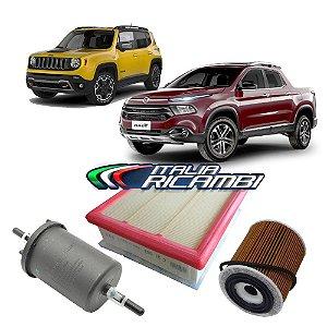 Kit filtros de ar, óleo e combustível - Fiat Toro 1.8 16V e Jeep Renegade 1.8 16V