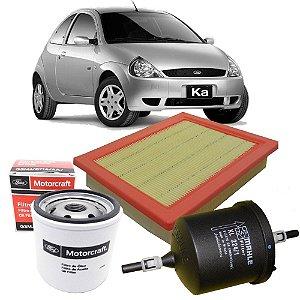 Kit filtros de ar, óleo e combustível - Ford Ka 1.0 e 1.6 8V Zetec Rocam de 2000 até 2007