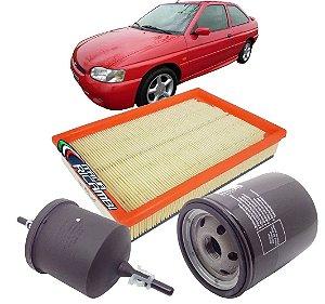 Kit filtros ar, óleo e combustível - Ford Escort 1.6 8V Zetec Rocam 2000 2001 2002