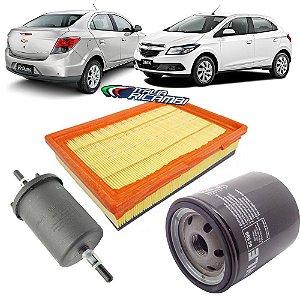 Kit filtros de ar, óleo, combustível - GM Onix e Prisma 1.0 e 1.4 de 2012 até 2019