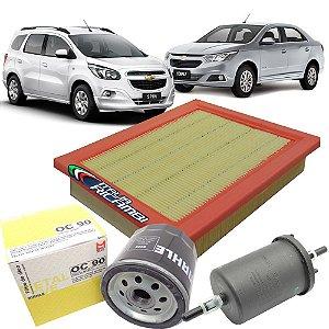 Kit filtros de ar, óleo, combustível - GM Cobalt 1.4 1.8 e Spin 1.8 de  2012 em diante