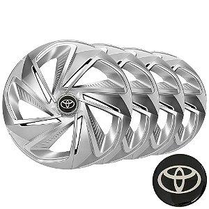 Jogo calotas esportivas Elitte Nitro Silver aro 14 emblema Toyota - Etios - LC215