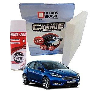 Kit filtro de cabine e higienizador de ar condicionado - Ford Focus 1.6 e 2.0 de 2013 em diante
