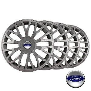 Jogo calotas esportivas Elitte Triton Graphite aro 13 emblema Ford - Courier Fiesta Ka Focus Ecosport Escort - LC311