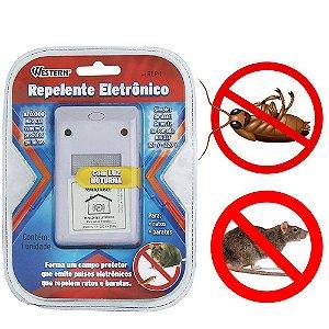 Repelente Eletrônico Espanta Ratos E Baratas Para Uso Doméstico Sem Barulho E Veneno - Western REP-1