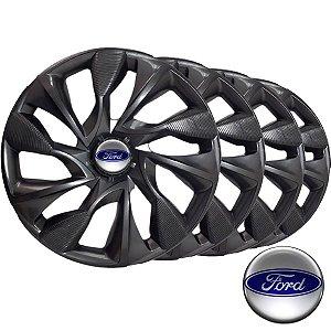 Jogo calotas esportivas Elitte DS4 Graphite aro 13 emblema Ford - Courier Fiesta Ka Focus Ecosport Escort - LC301