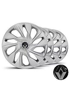 Jogo calotas esportivas Elitte DS4 Silver aro 15 emblema Renault - Clio Logan Sandero Symbol - LC360