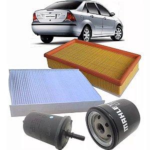 Kit filtros de ar, óleo, combustível e cabine - Ford Focus antigo 1.6 8V Zetec Rocam de 2007 até 2009