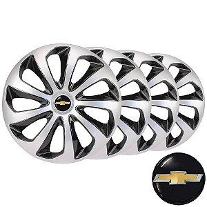 Jogo calotas esportivas Elitte Velox Silver/Black aro 14 emblema GM - Corsa Celta Onix Prisma Classic - 4703