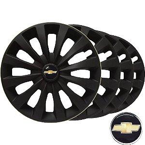 Jogo calotas esportivas Elitte CC Fosc Black aro 13 emblema Chevrolet - Corsa Classic Celta Pisma - LC103