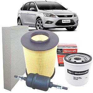 Kit filtros de ar, óleo, combustível e cabine - Ford Focus 1.6 16V Sigma e 2.0 16V Duratec de 2009 até 2013