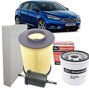 Kit filtros de ar óleo combustível e cabine - Ford Focus 1.6 e 2.0 de 2013 em diante
