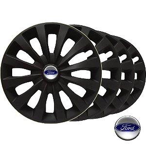 Jogo calotas esportivas Elitte CC Fosc Black aro 13 emblema Ford Escort Fiesta Ka Courier - LC103