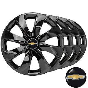 Jogo de calotas esportivas Prime Black Elitte aro 14 com emblema Chevrolet - Onix Corsa Classic Celta Prisma - LC232
