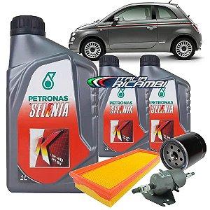 Kit troca de óleo Selenia K 15W40 e filtros de ar, óleo e combustível - Fiat Cinquecento 1.4 8V Evo de 2012 até 2014