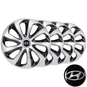Jogo calotas esportivas Elitte Velox Silver Black aro 14 emblema Hyundai - HB20 - 4703