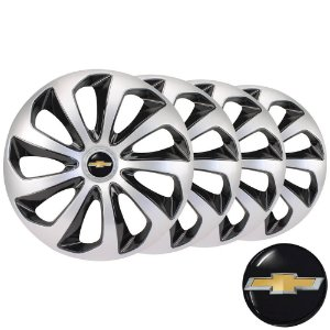 Jogo calotas esportivas Elitte Velox Silver Black aro 13 emblema GM - Corsa Celta Prisma Classic - 3703