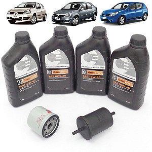 Kit troca de óleo 10W40 e filtros óleo e combustível - Renault Clio Logan e Sandero 1.0 16V