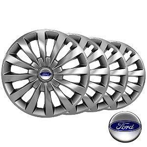 Jogo calotas esportivas Elitte Passat Cc Silver aro 13 emblema Ford - Fiesta Ka Escort Courier Focus - LC100