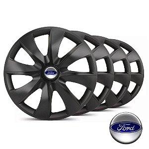 Jogo calotas esportivas Elitte Prime Fosco Black aro 13 emblema Ford - Fiesta Ka Escort Courier Focus - LC203