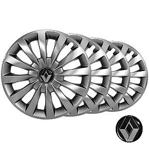 Jogo calotas esportivas Elitte Passat Cc Silver Prata aro 13 emblema Renault - Clio Hatch E Sedan - LC100