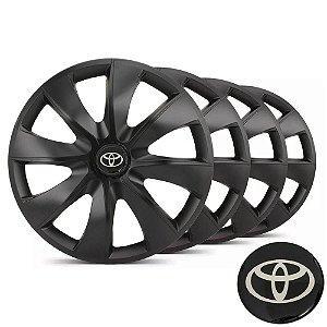 Jogo calotas esportivas Elitte Prime Fosco Black aro 14 emblema Toyota - Etios Corolla - LC233