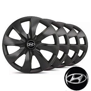 Jogo calotas esportivas Elitte Prime Fosco Black aro 14 emblema Hyundai - Hb20 Hb20s - LC233